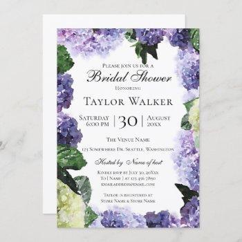 elegant watercolor hydrangeas in purple & lavender invitation