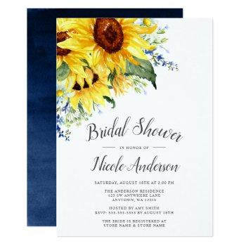 elegant watercolor sunflowers bridal shower invitation