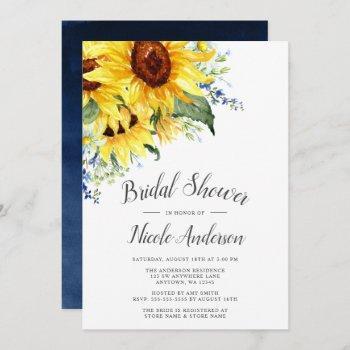 elegant watercolor sunflowers bridal shower invitation