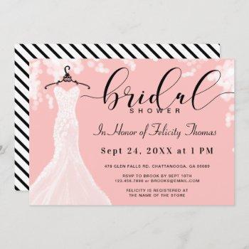 elegant wedding dress bridal shower invitation