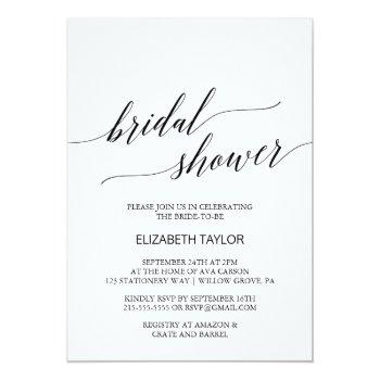 elegant white and black calligraphy bridal shower invitation