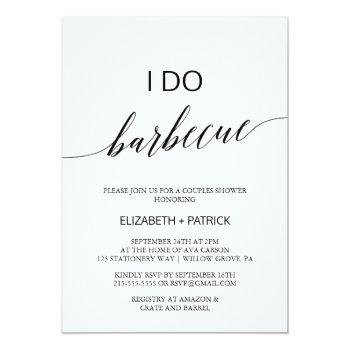 elegant white and black calligraphy i do barbecue invitation