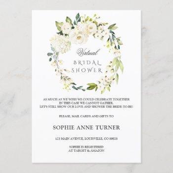 elegant white floral virtual bridal shower by mail invitation