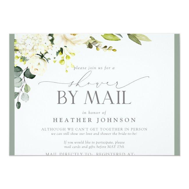 Elegant White Floral Watercolor Bridal Shower Mail Invitation