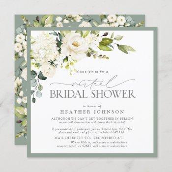 elegant white floral watercolor virtual shower invitation