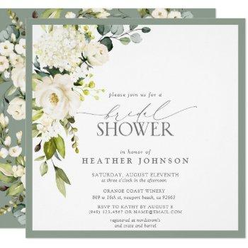elegant white gray green watercolor bridal shower invitation