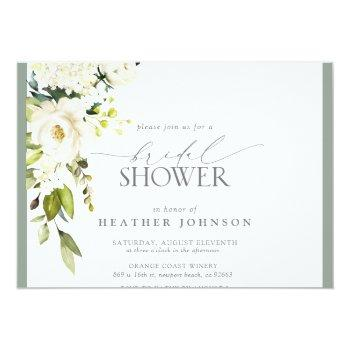 Elegant White Gray Green Watercolor Bridal Shower Invitation Front View