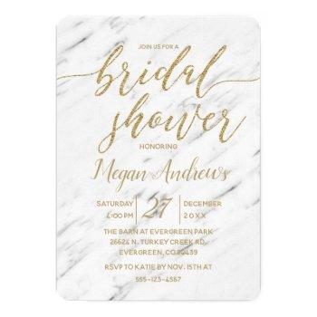 elegant white marble bridal shower invitation
