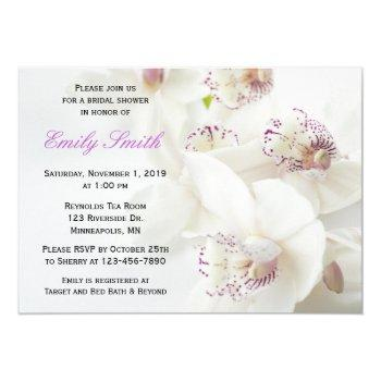 elegant white & purple orchids bridal shower invitation