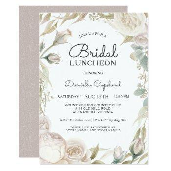 elegant white roses bridal luncheon invitation