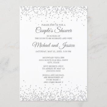 elegant white silver glitter couple's bridal invitation
