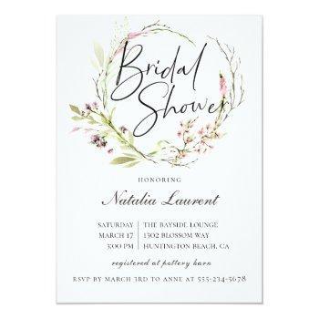 elegant wildflower wreath bridal shower invitation