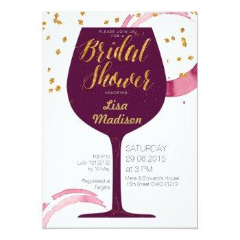 elegant wine bridal shower invitation