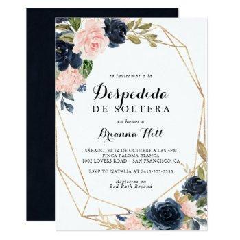 elegant winter floral spanish bridal shower invitation
