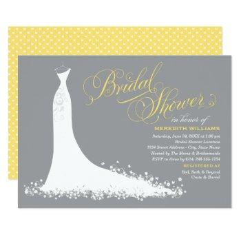 elegant yellow and gray wedding gown bridal shower invitation