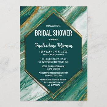emerald gold abstract agate marble bridal shower invitation