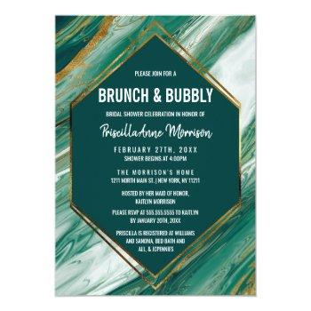 emerald gold abstract agate marble brunch bubbly invitation