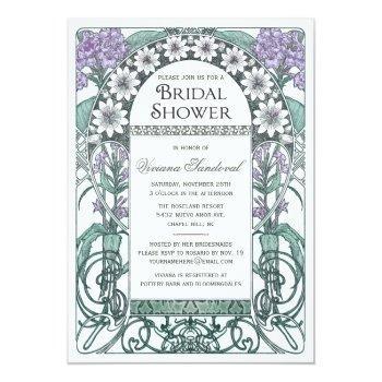 emerald violet garden bridal shower invitations
