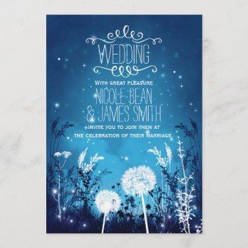 enchanted night sky stars & foliage blue wedding invitation