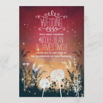 enchanted red night sky stars & foliage wedding invitation