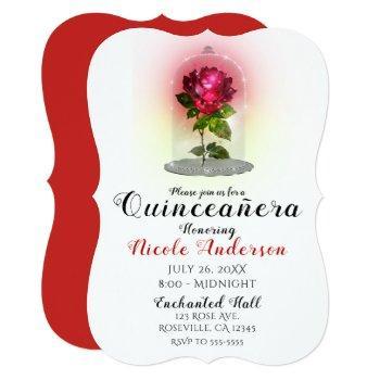enchanted red rose sparkly quinceañera party invitation