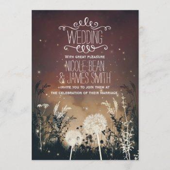 enchanted rustic night sky stars & foliage wedding invitation