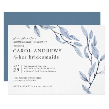 ethereal blue chic botanical bridesmaids luncheon invitation