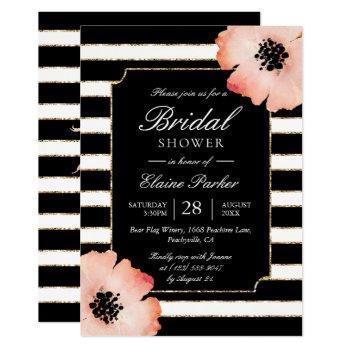 ethereal peach magnolia stripe wedding black white invitation