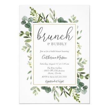 eucalyptus brunch and bubbly bridal shower invitation