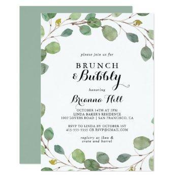 eucalyptus brunch and bubbly bridal shower invitation