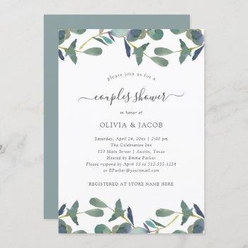 eucalyptus crest   green leaves couples shower invitation