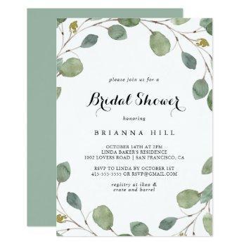 eucalyptus foliage calligraphy bridal shower invitation