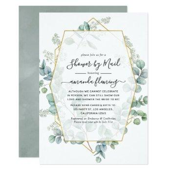 eucalyptus geometric virtual bridal shower by mail invitation