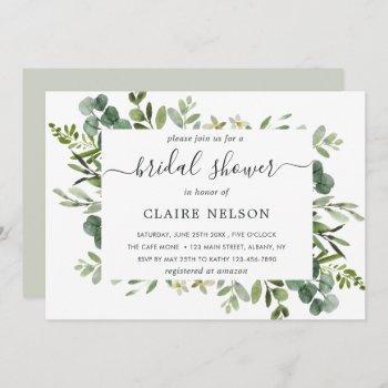eucalyptus green foliage bridal shower invitation