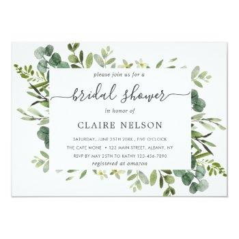 Eucalyptus Green Foliage Bridal Shower Invitation Front View