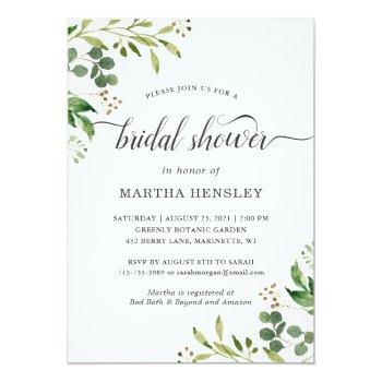 Eucalyptus Green Leaves Nature Look Bridal Shower Invitation Front View
