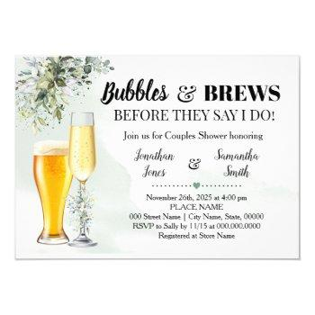 eucalyptus greenery bubbles and brews shower invitation