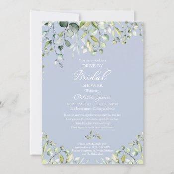 eucalyptus greenery drive by bridal shower  invitation