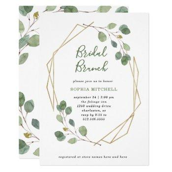 eucalyptus greenery | geometric bridal brunch invitation