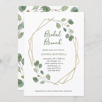 eucalyptus greenery   geometric bridal brunch invitation