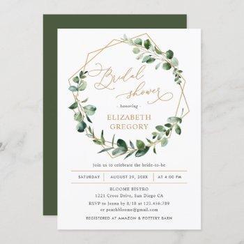 eucalyptus greenery geometric bridal shower invitation