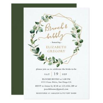 eucalyptus greenery geometric brunch and bubbly invitation
