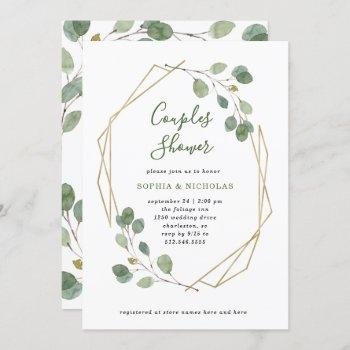 eucalyptus greenery   geometric couples shower invitation