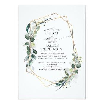 Eucalyptus Greenery Geometric Modern Bridal Shower Invitation Front View