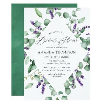 eucalyptus lavender greenery bridal shower invitation