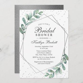 eucalyptus silver geometric bridal shower invitation