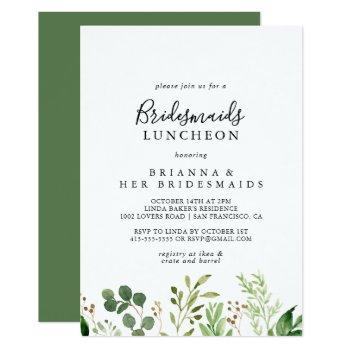 eucalyptus simple bridesmaids luncheon shower invitation