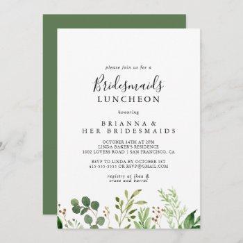eucalyptus simple bridesmaids luncheon shower invitation