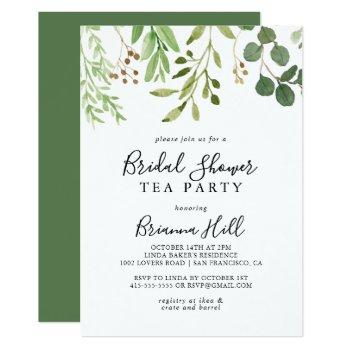 eucalyptus simple floral bridal shower tea party invitation