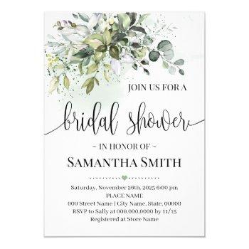 eucalyptus succulent greenery bridal shower invitation